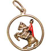 Awesome Sterling HORSE & RIDER Vintage Enameled Charm