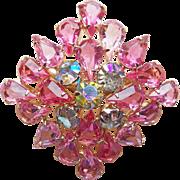 Gorgeous Pink Glass Aurora Rhinestone Vintage Brooch