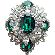 Gorgeous Green & Clear Rhinestone Vintage Brooch