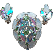 Gorgeous Poured Glass & Aurora Rhinestone Vintage Brooch Set