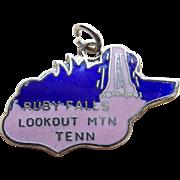 Enamel Ruby Falls Tennessee Silvertone Vintage Charm