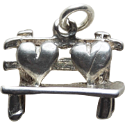 Sterling 2 Hearts on Park Bench Vintage Charm