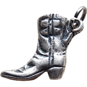 Sterling Cowgirl Boot Vintage Charm