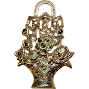 Gorgeous STERLING & MARCASITE Flower Basket Vintage Brooch