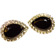 Beautiful BLACK & CLEAR Vintage Rhinestone Clip Earrings