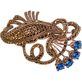 Fabulous STERLING MARCASITE & Vibrant Blue Stones Estate Brooch