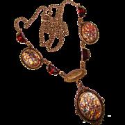 Fabulous OPAL GLASS & Garnet Color Rhinestone Estate Necklace