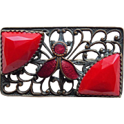 Art Deco Red Glass & Enamel Brooch