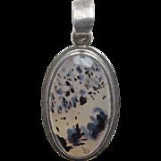 Sterling & Spotted Agate Vintage Pendant