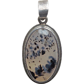 Sterling & Spotted Agate Vintage Pendant