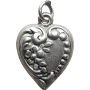 Sterling Floral Puffy Heart Vintage Charm