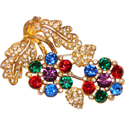 Fabulous 1940's Era Colored Rhinestone Estate Brooch