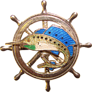Awesome ART DECO Enameled Ship Wheel & Sailfish Brooch