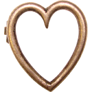 Small Antique Sterling HEART Shaped Pin - For Doll or Lapel