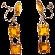 Fabulous ART DECO Sterling & Amber Glass Drop Earrings