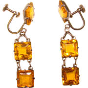 Fabulous ART DECO Sterling & Amber Glass Drop Earrings