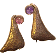 Awesome MEXICAN STERLING & Amethyst Hammered Freeform Estate Earrings