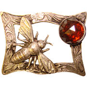 Antique BEE INSECT Design Amber Glass Sash Pin Brooch