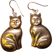 Adorable CATS Vintage STERLING Silver Dangle Earrings