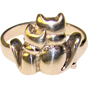 Super Cute CATS IN LOVE Sterling Silver Ring