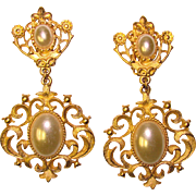 Fabulous Huge Vintage Golden Faux Pearl Dangle Clip Earrings