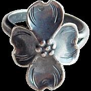 Nye Sterling Dogwood VIntage Ring - Size 6 1/2 Adjustable