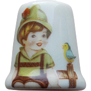 Vintage Boy & Bird Porcelain Estate Thimble