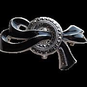 Art Deco Sterling Enamel & Marcasite Watch Pin Brooch