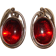 Gorgeous STERLING & AMBER Signed Clip Earrings