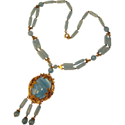 Fabulous Czech ART DECO Blue Glass Necklace