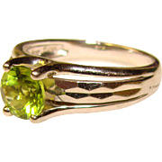 Gorgeous STERLING & Green Stone Estate Ring - Large Size