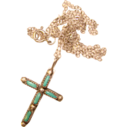 Delicate STERLING & TURQUOISE Vintage Cross Pendant Necklace