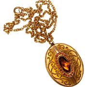 Fabulous Antique AMBER STONES Locket Necklace