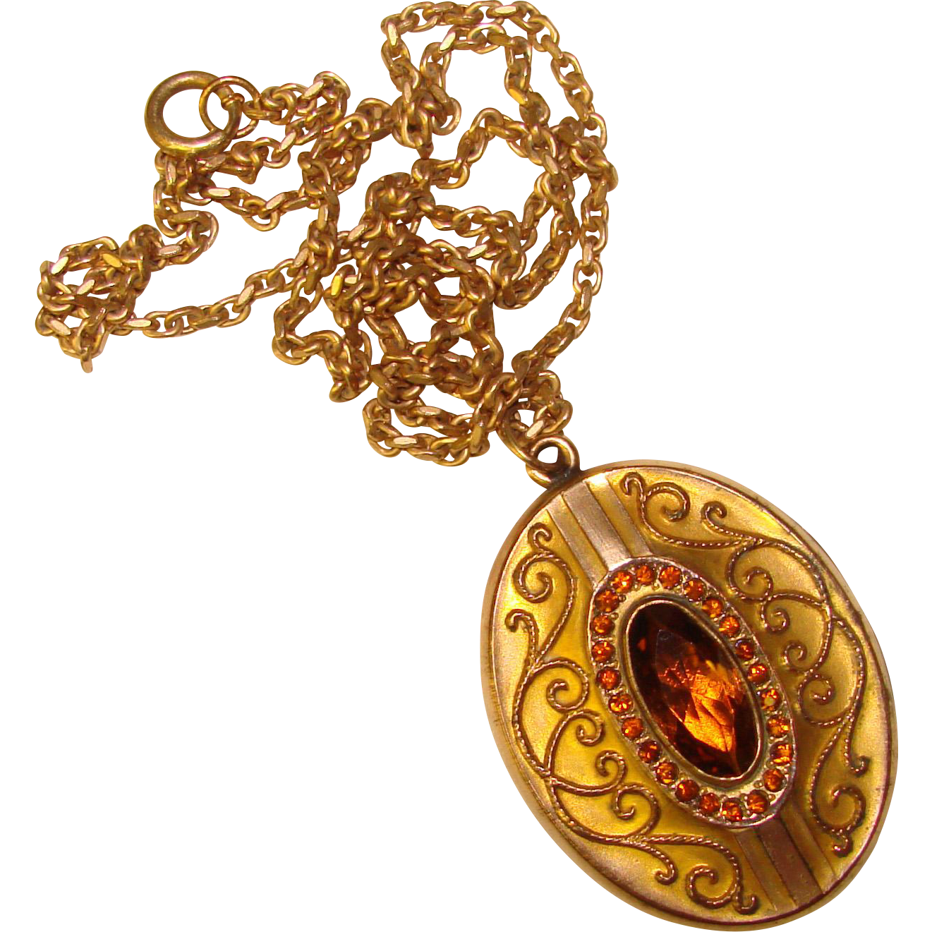 fabulous antique amber stones locket necklace from