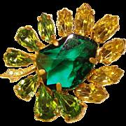 Gorgeous GEOMETRIC Shaped Green Rhinestones Vintage Brooch
