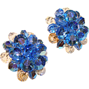 Gorgeous Wired BLUE AURORA Crystal Vintage Clip Earrings