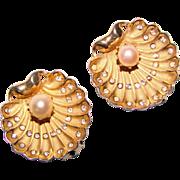 Fabulous SHELL Shaped Cultured Pearl Rhinestone Clip Earrings
