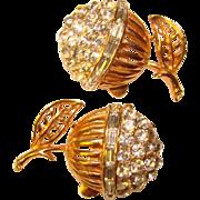 Fabulous Vintage RHINESTONE Clip Earrings