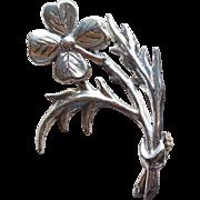Sterling 4 Leaf Clover Vintage Brooch