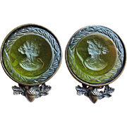 Green Glass Intaglio Cameo Vintage Earrings