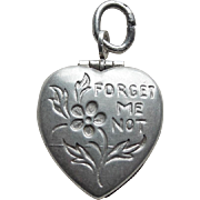 Sterling Forget Me Not Puffy Heart Locket Charm