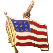 Sterling & Enamel AMERICAN FLAG Vintage Charm