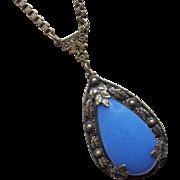 Gorgeous Art Deco Blue Glass Necklace