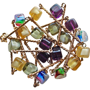 Color Givre Glass Cube Beads Vintage Necklace