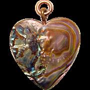 Gorgeous Vintage ABALONE HEART Pendant