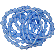 Fabulous BLUE GLASS Long Strand of Vintage Beads