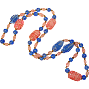 Gorgeous BLUE & PINK Art Glass Beads Necklace