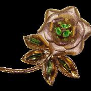 Gorgeous GREEN RHINESTONE Dimensional Flower Brooch