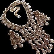 Fabulous Goldette Smoke Crystal Dangle Necklace Set