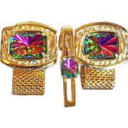 Watermelon Rhinestone Vintage Cufflinks Set - in Box
